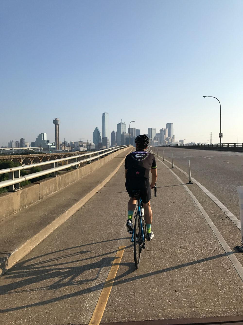 Brett riding in Dallas